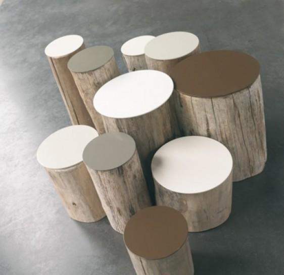tavolini in ceppo di legno naturale