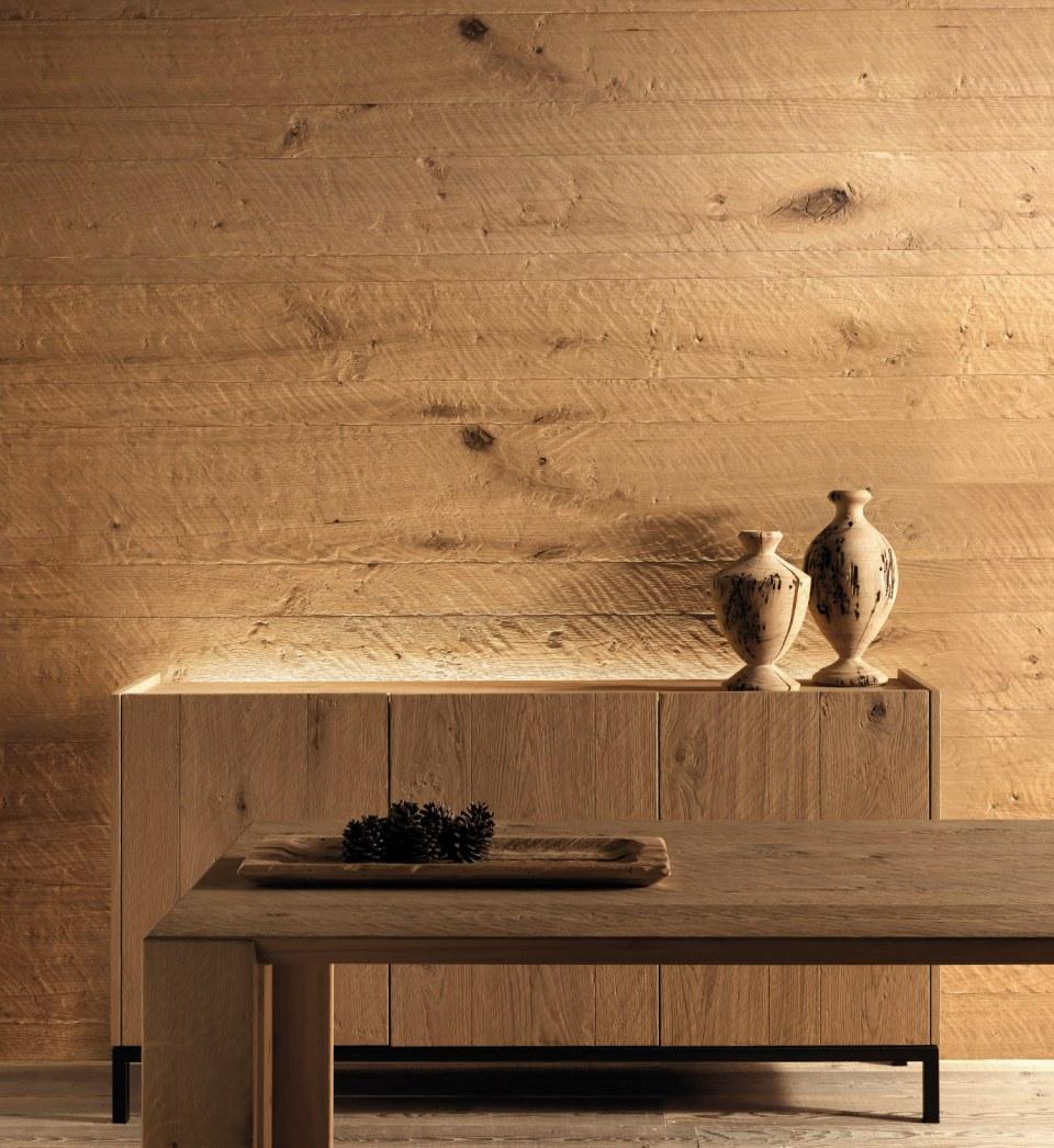 Tavole Legno Per Rivestimento Pareti boiserie in legno massello rovere piallato o spazzolato