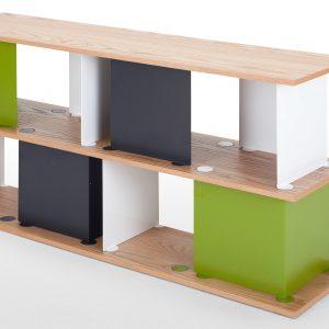 Libreria modulare in legno e metallo multicolore
