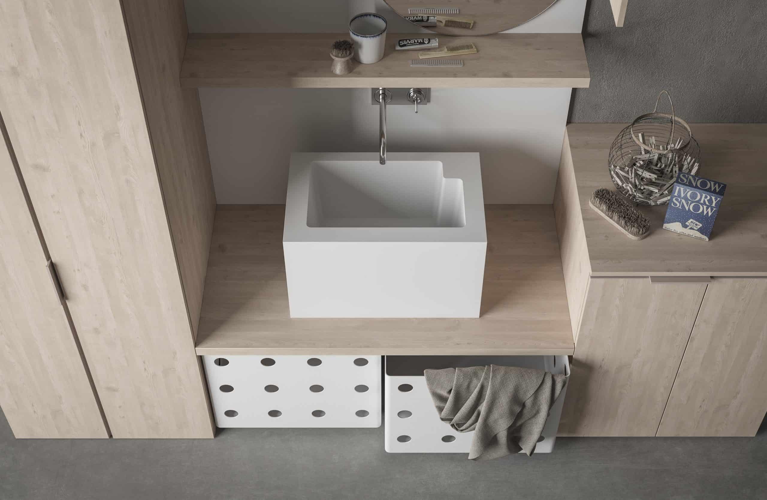 Sistema modulare per una lavanderia bella ed organizzata
